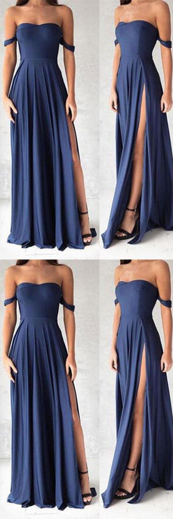 Navy Blue Prom Dresses,Elegant Evening Dresses,Long Formal Gowns,Slit Party Dresses,Chiffon Pageant Formal Dress
