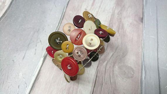 Muted colour mix wraparound button bracelet by FolbarJewellery