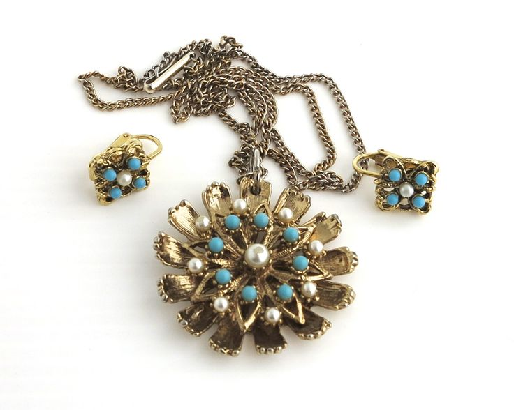 Vintage pendant necklace and clip on earrings, gold metal setting with turquoise and pearl beads, highly decorative, mid 20th century by CardCurios on Etsy