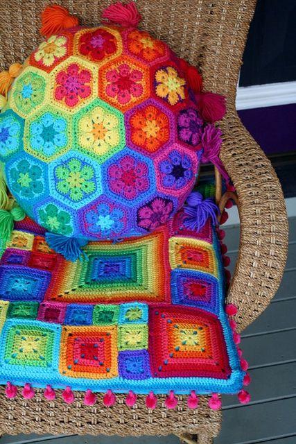 almohadones de crochet