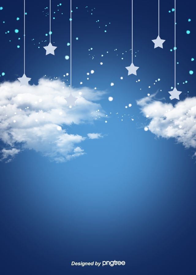 Blue Star And White Cloud Sky Cartoon Background Blue Background Images Blue Sky Background White Background Images