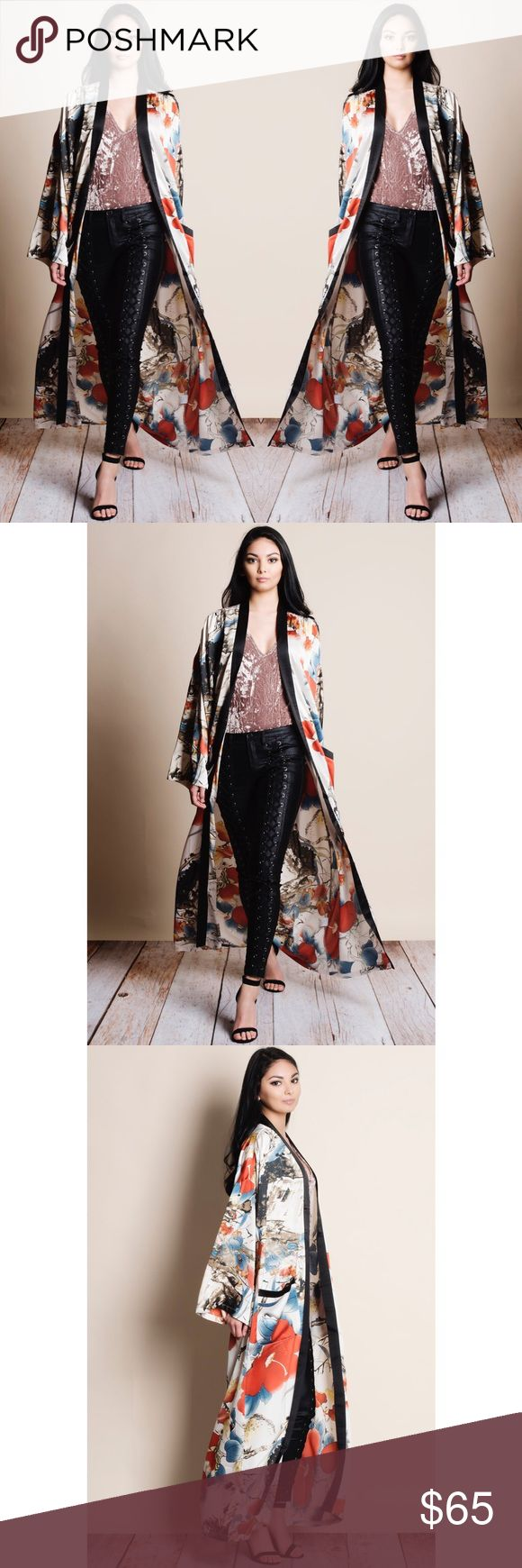 "Oriental Print Maxi Kimono Duster Oriental print Kimono Duster. Runs true to size. This is an ACTUAL PIC of the item - all photography done personally by me. Model is 5'9"", 33""-25""-36.5"" wearing the size small. NO TRADES DO NOT BOTHER ASKING. Bare Anthology Sweaters Cardigans"