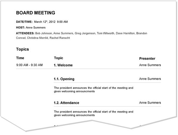 staff meeting agenda spintel - sample board meeting agenda