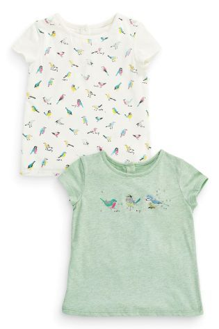Kup online dziś w Next: Polska Koszulki z krótkim rękawem z motywem ptaków w kolorach zielonym i ecru w dwupaku (3m-cy-6lat)
