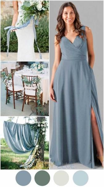 Slate blue is a beautiful color for your wedding palette. | Kennedy Blue bridesmaid dress style Pearl is featured in slate blue | 18 Slate Blue Bridesmaid Dresses Worth Obsessing Over    chiffon long bridesmaid gowns | slate blue | summer spring fall outdoor weddings | quality affordable bridesmaid dresses | wedding inspiration | wedding ideas | wedding color palettes | natural weddings | real wedding photos