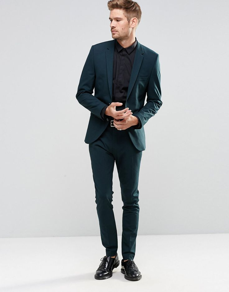 Image 1 ofSelected Homme Bottle Green Suit in Slim Fit with Stretch Asos