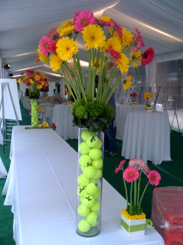 Tennis centerpieces | Incorporating Themes into Floral Decor | L.A. Botanicals