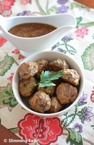 Slimming World Friendly Mushroom and Parmesan Chicken meatballs with a sweet onion sauce.