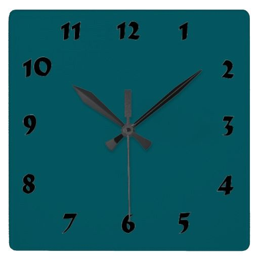 Changeable Numbered Dark Teal Clock  solid color