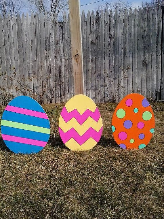 Easter eggs outdoor wood yard art lawn decoration wood for Wooden eggs for crafts