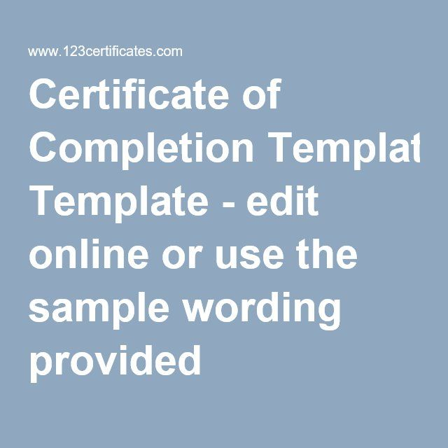Best 25 Certificate of completion template ideas – Certificate of Completion Sample