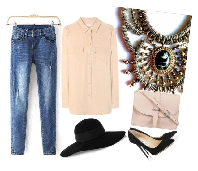 """""""#yahoraquemepongo"""" by ssolfernandezz ❤ liked on Polyvore featuring Equipment, Jimmy Choo, M.N.G and Eugenia Kim"""