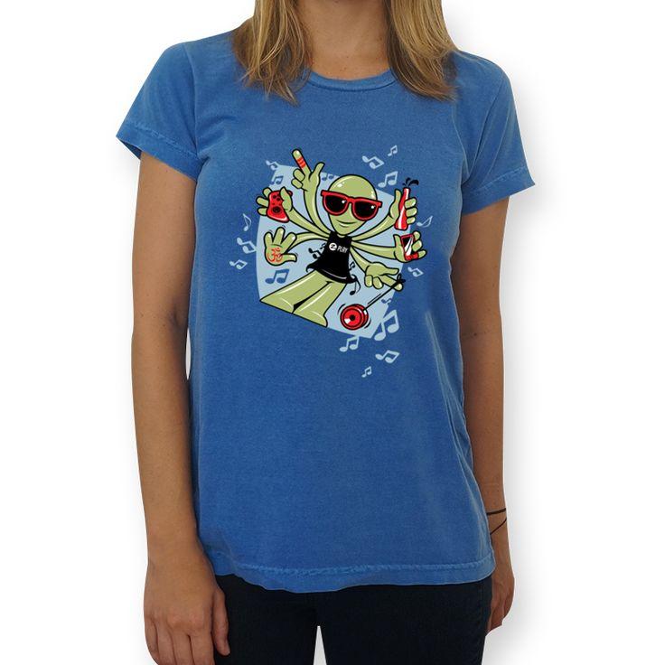 Camiseta ALIEN WAVE - Evolution of Rave de Kizumbba sobre geek, musica, music, alien, nerd, wave, dança, dance, ovni, rave, dançar, et, evolution, raver