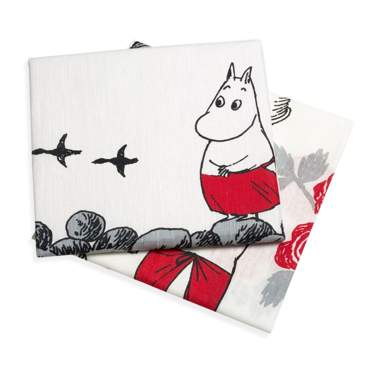 2-pack of kitchen towels featuring Moominmamma. The towels are white, with black and red details. Enjoy your cooking moments in the company of Moominmamma. The Moomin-towels are inspired by Tove Jansson's original drawings and are authentic ©Moomin Characters™ licensed products.