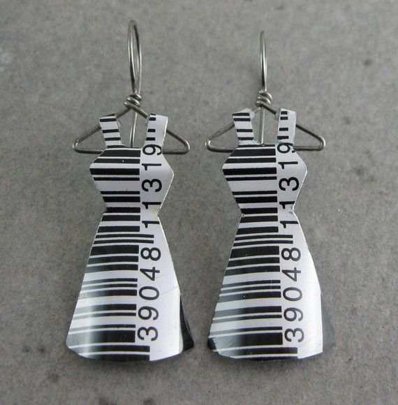 Bar Code- Recycled Tin Mini Dress Earrings. $28.00, via Etsy.