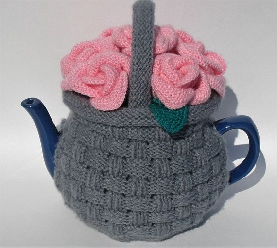"""Tea cozy. Teapot cosy. Crochet Tea Cozy. Knitted Tea Cosy. Tea Party. Tea Gifts. Tea cozies. Teapot cosy """"Basket with roses"""""""