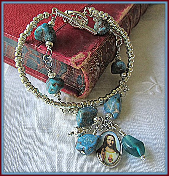 Religious Gemstone Turquoise Silver Jesus Faith Bracelet, Cross Bracelet, Gemstone Cross Bracelet, Natural Turquoise Bracelet, Mothers Day by ginatuckerdesigns. Explore more products on http://ginatuckerdesigns.etsy.com