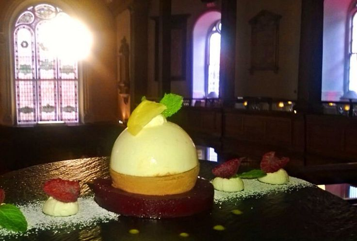 Our Gallery Restaurant Dessert Special: Lemon, Basil and Dark Chocolate Mousse ball, on a Strawberry & Raspberry Jam Ring..