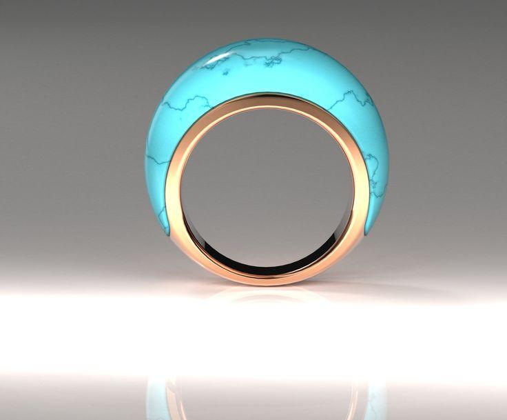 Studio design - carved Turquoise, rose gold