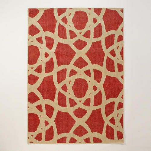 4.9x6.9 Red Bolinas Indoor-Outdoor Rug