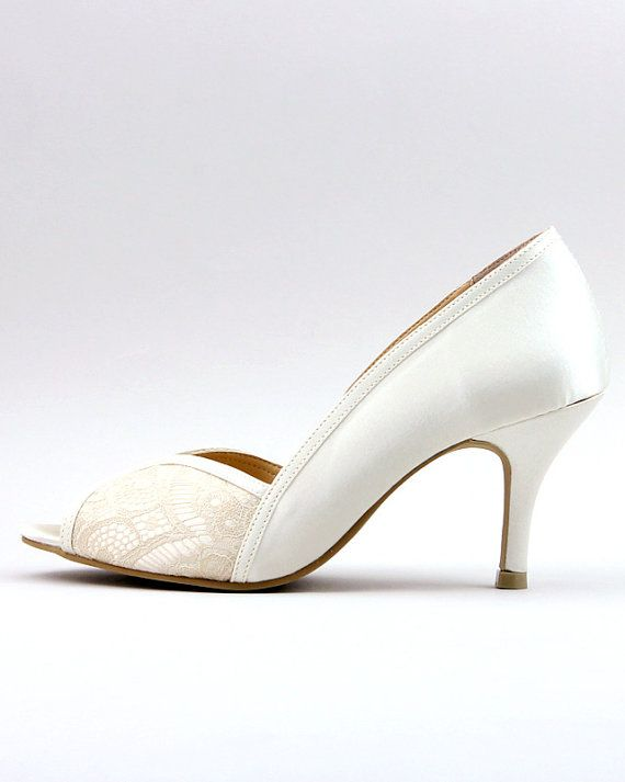 Ivory Lace Wedding Shoes Bridal White Bridesmaid Mother Of The Bride