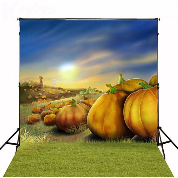 Halloween Photography Backdrops Lawn Big Pumpkin by ArtBackground