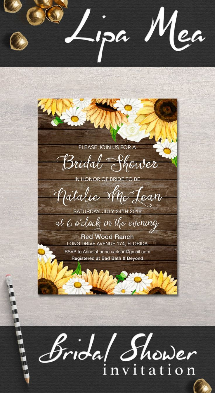 free printable bridal shower games how well do you know the bride%0A Bridal Shower Invitation Rustic  Sunflower Bridal Shower Invitation   Country Bridal Invite  Printable Bridal