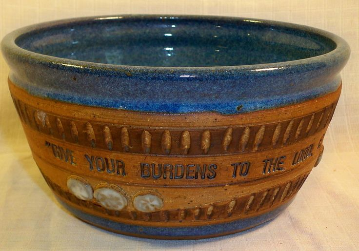 Down to Earth Pottery Blue & Brown Bowl Bible Scripture Psalms 55:22 Sand Dollar
