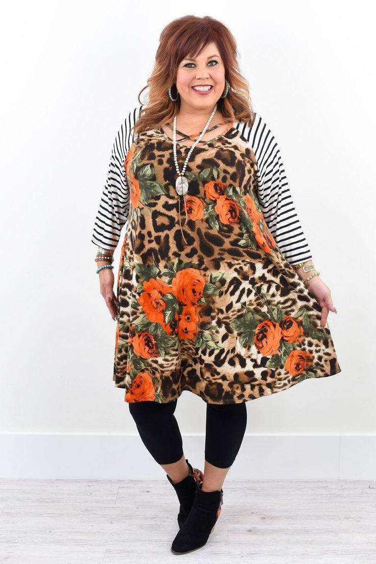When Love Comes Brown Leopard/Floral Crisscross Front Dress - D1453BR