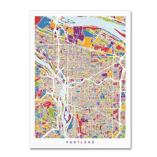 Check out the sweet view of Portland, Oregon from the comfort of your home with the Portland Oregon City Street Map Canvas Wall Art by Michael Tompsett. Bright colors fill in the different districts and bodies of water for modern decor, and the white border adds a crisp finishing touch. Whether you're a Portland native or simply love this city, this wall map makes for great office decor or a contemporary accent piece for your entryway.
