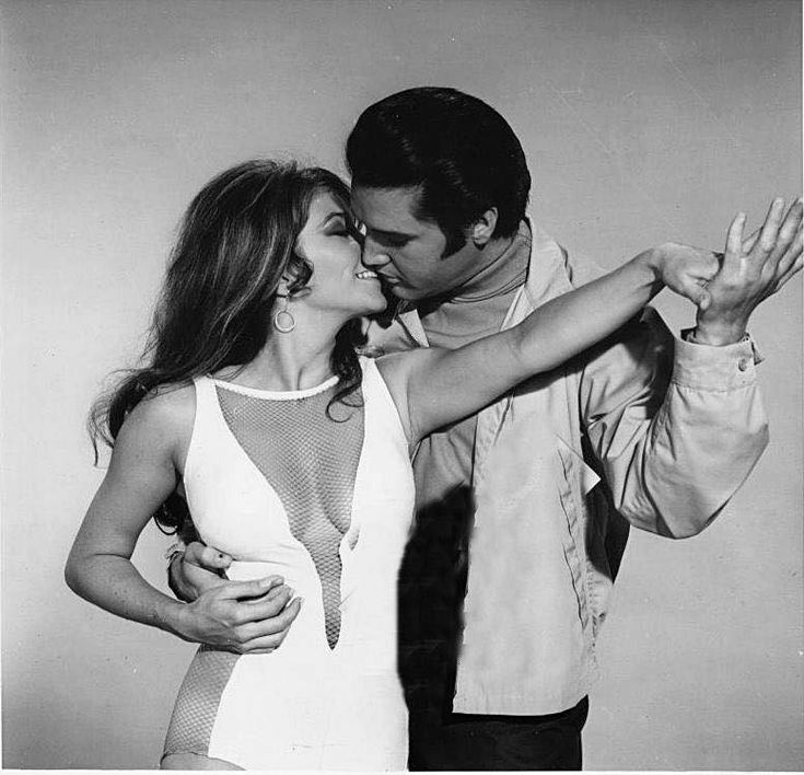 """Elvis with co-star Michele Carey. """"At age 33, Elvis looked handsome and in tip top shape in Live a Little, Love a Little. It was the last film he made prior to taping his 1968 NBC-TV """"Comeback Special,"""" and his work to get into physical condition for that event shows in his film work as well.""""/Alan Hanson (© August 2008)"""