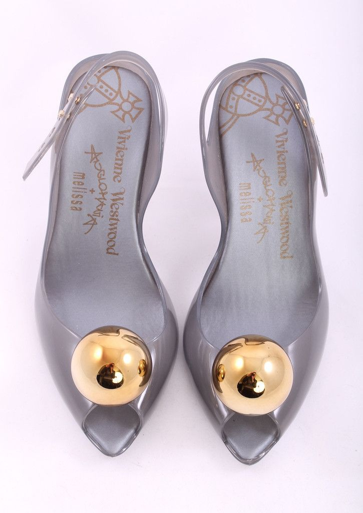 Vivienne Westwood Gray Open Toe Jelly Gold Toe Heels Size 6