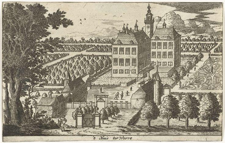 Cornelis Elandts | Huis te Werve, Cornelis Elandts, 1663 - 1670 | Gezicht op een landgoed met het landhuis te midden van formele tuinen. Op de voorgrond staat een man tussen de toegangspoort en een hoge boompartij.