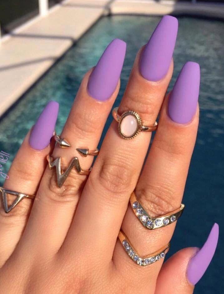 Light Purple Nail Designs Elegant Purple Matte Perfect For Spring In 2020 Violet Nails Purple Acrylic Nails Matte Nails Design