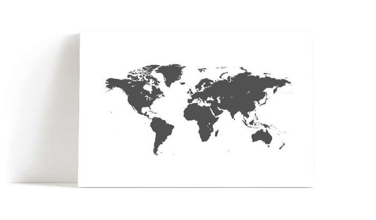 Verdenskart+grå+veggbilde