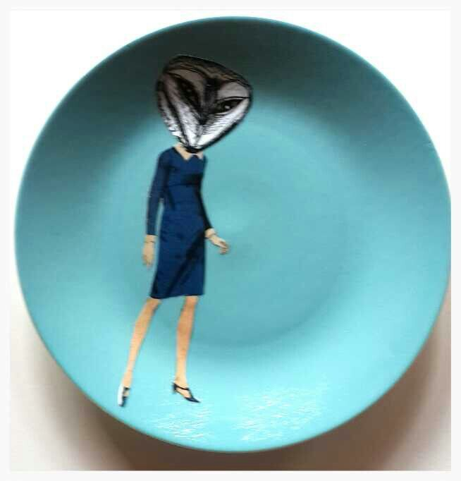 Terry Angelos. Lady owl on blue plate