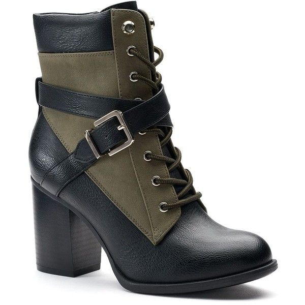 Apt. 9® Negotiate Women's High Heel Combat Boots ($80) ❤ liked on Polyvore featuring shoes, boots, green oth, ankle boots, military boots, army combat boots, green ankle boots and short boots