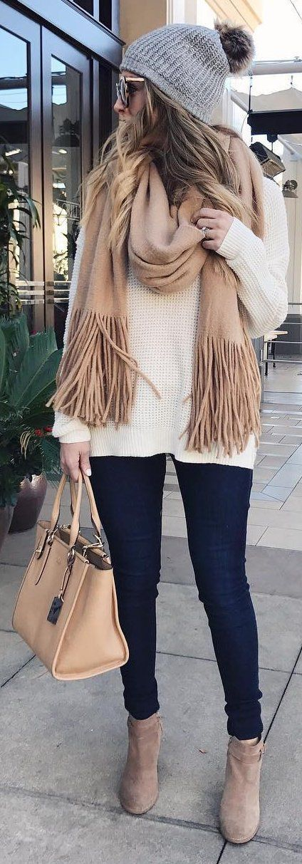 #winter #fashion /  Grey Beanie / Beige Fringe Scarf / White Knit / Black Leggings / Beige Booties