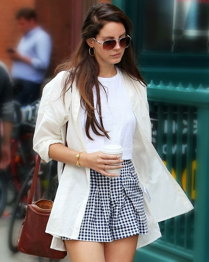 Lana Del Rey. AHH! love this outfit. Who knew gingham could look so polished. #neutrals #casual                                                                                                                                                                                 More