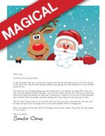 Santa Letter template with Santa and Rudolph hugging and smiling out at children on a snowy blue background