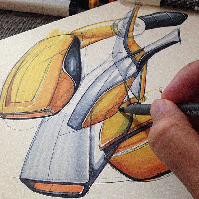 Industrial design pen and marker sketches