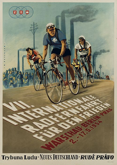 """cadenced: """" Peace Race poster from 1954 found on plakatkontor's website. You can find more Peace Race posters here which provide some stunning examples of post war graphic design. """""""