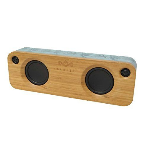 House of Marley Get Together Portable Bluetooth Speaker - Blue Hemp. Quick pairing to any Bluetooth device, with the option to auto reconnect to the last Bluetooth device used. Exclusive REWIND fabric covering, and bamboo front baffle and rear trim. Controls: Power, Volume, Bluetooth pairing/disconnect. 3.5mm stereo audio input for non-Bluetooth enabled audio devices. Powered by internal 8-hour lithium ion battery so you can bring your music on the go.
