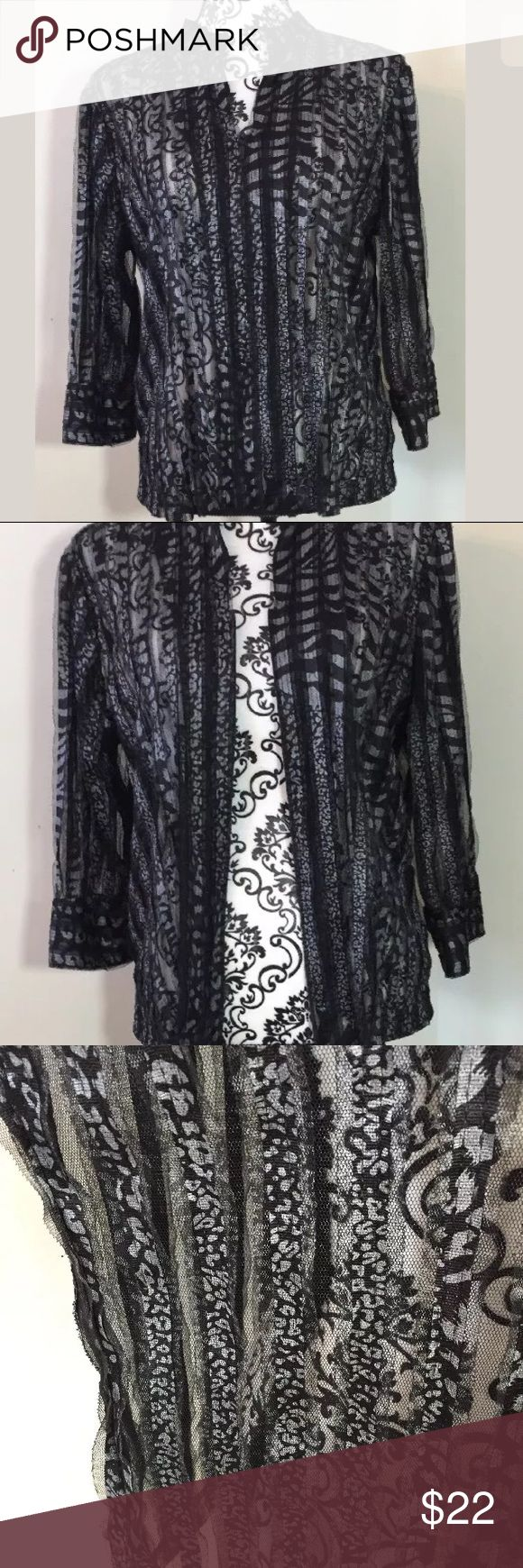 Chico's Travelers Sheer Zip Up Size 1. Semi sheer black and white zip up. Excellent condition. Smoke free home Chico's Jackets & Coats