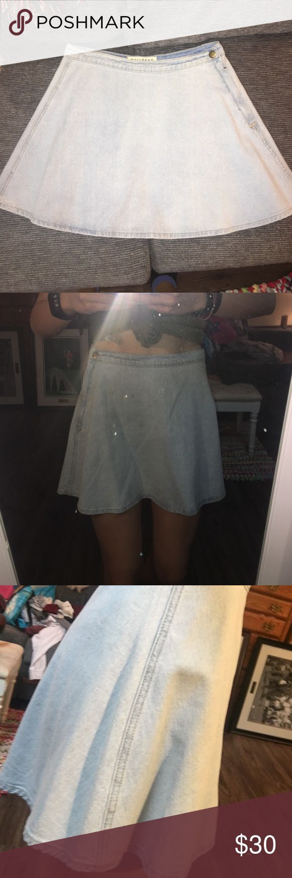 Pacsun High Waisted Jean Skirt Excellent condition! I've only worn this once, I love it! It is too big on me now so I am looking to sell :) Bullhead Skirts Circle & Skater
