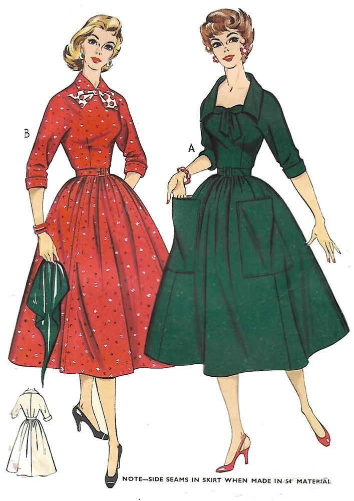 994e0b4368a Vintage 1950s Sewing Pattern Full Gathered Skirt Dress Rockabilly Pockets B  34
