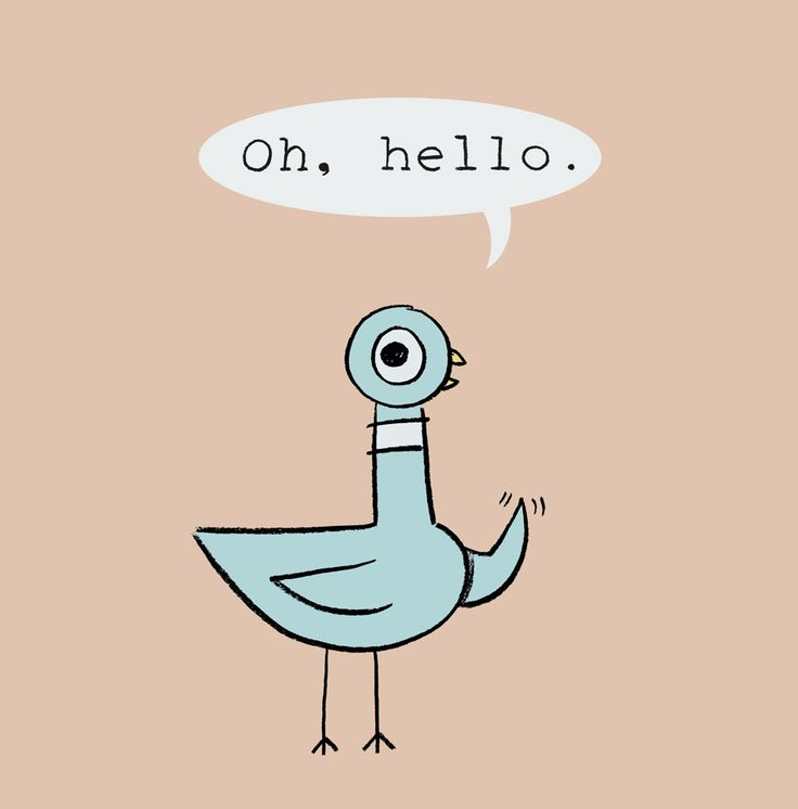 """Pigeon """"Oh, Hello"""" original art and prints by Mo Williams available at the R. MICHELSON GALLERIES"""