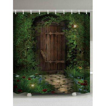 Fairy Forest Wood Door Fabric Shower Curtain