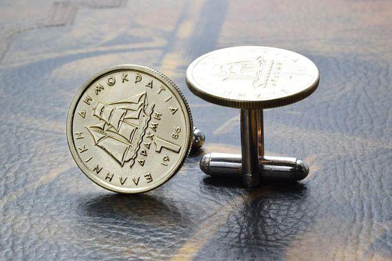 Greek Drachma, Coin Cufflinks, Greek Cufflinks. A pair of Handmade Cufflinks made with original circulated Greek one Drachma coins, on Silver Plated Cufflinks base. The coin shows a corvette, a boat of 1821. #cufflinks #greece #drachma #coincufflinks #ship https://www.etsy.com/listing/581177673/greek-drachma-coin-cufflinks-greek?ref=shop_home_active_1