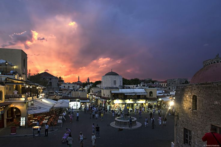 Hippocrates Square old town Rhodes Greece